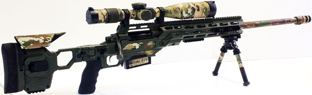 Dual Strike chassis for Stiller Tac 338 action with some original camo skins