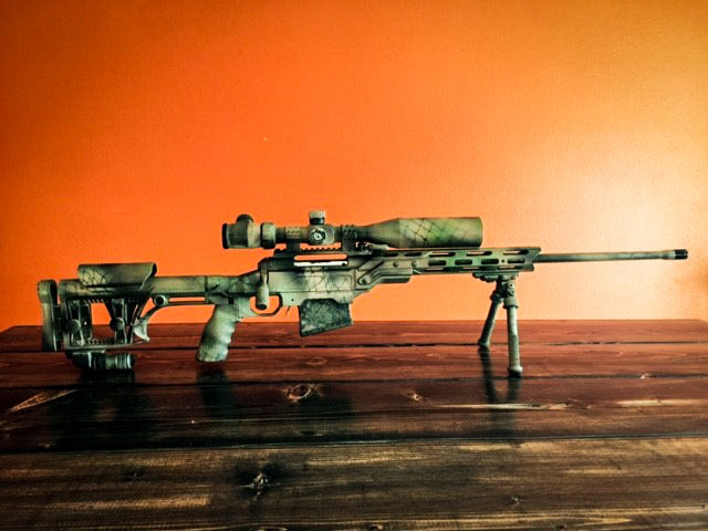 Savage 110 chambered in 300 Win Mag and sitting in Field Core chassis