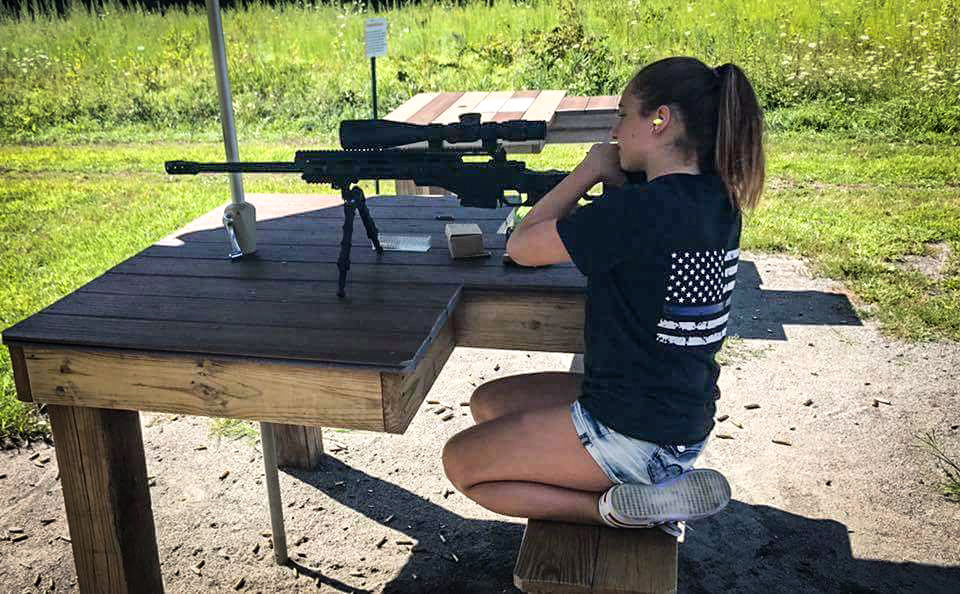 Young lady from New Jersey shooting Dad's Rem 700 .308 Win sitting in a Dual Strike chassis