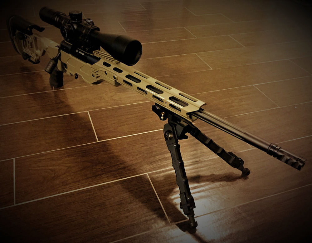 OT CORE chassis with a Skeleton Stock and an optional 20 MOA top rail using a Savage Arms 10TR actio