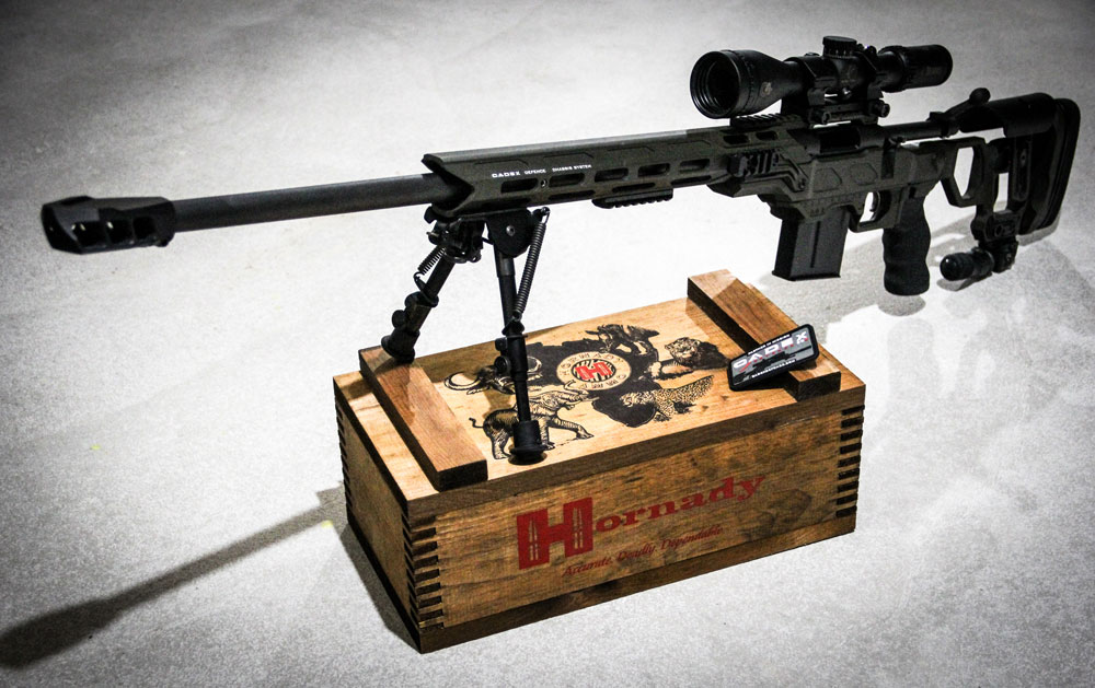 Left handed Rem 700 sitting in a Cadex Field Competition chassis and equipped with the Cadex MX1 muz
