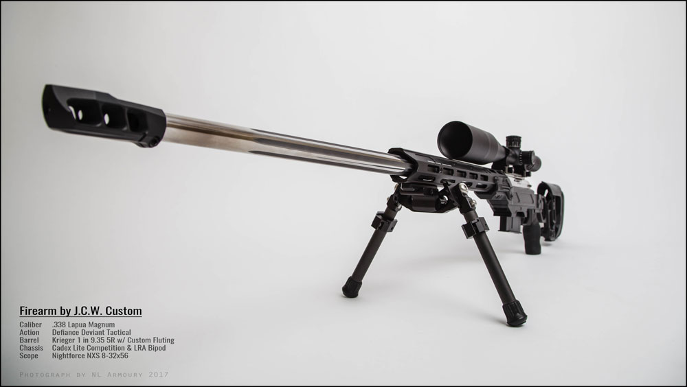Lite Competition chassis outfitted with a Defiance Deviant Tactical action and a MX1 muzzle brake