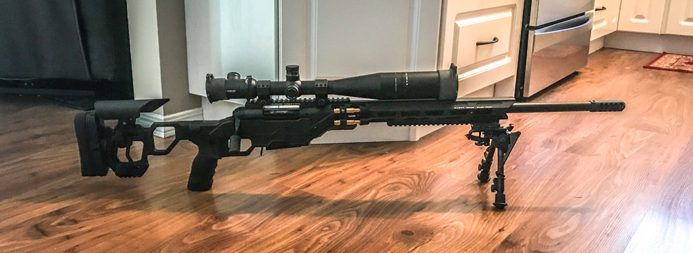 """Field Competition for a Savage 10TR. Notice the optional 20 MOA top rail and 9"""" bipod rail."""