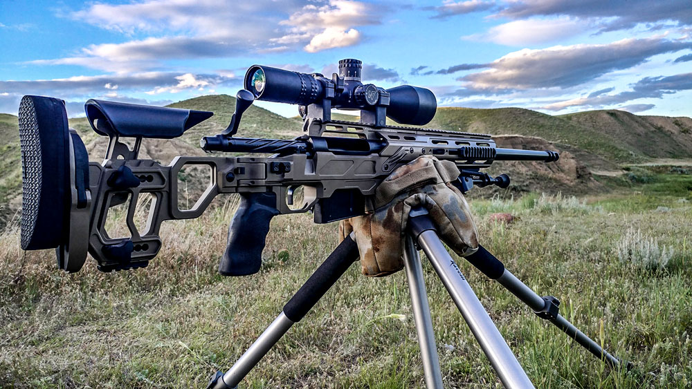 Defiance Rebel 338 Lapua action sitting in a Dual Strike chassis