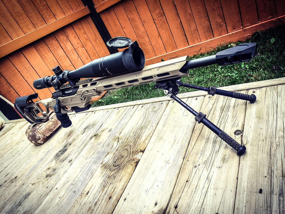 Field Competition Rem 700 action in 308 with the optional top rail and the MX1 Muzzle Brake