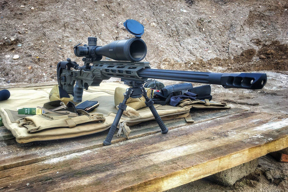 Custom Rem700 308 Win in our Dual Strike chassis with the Cadex MX1 muzzle brake
