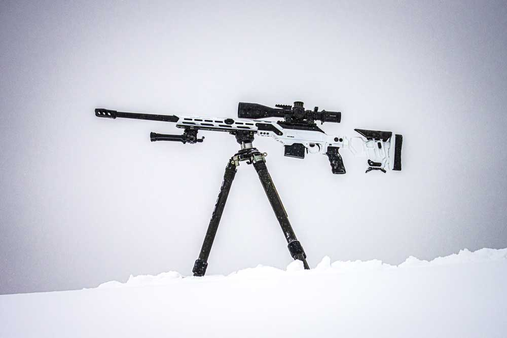 CDX-R7 LCP in Hybrid Stormtrooper White chambered in 6mm Creedmoor