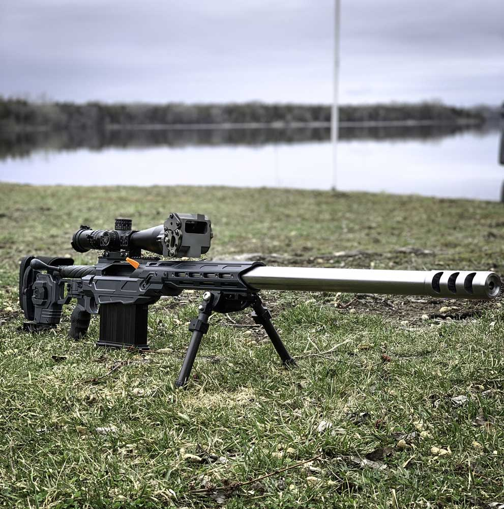 Chambered in 416 Barrett on a Cadex Tremor-50 action and sitting in a Dual Strike chassis