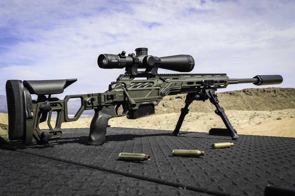 Switch from a 308 Win to a 338 Lapua Mag in just a few seconds without having to re-zero