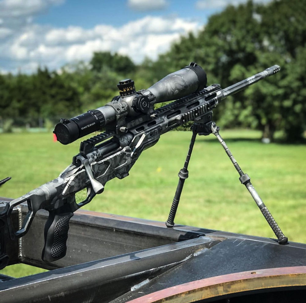 Multi-grey Kryptek Remington 700 .308 on a Cadex Field Tactical chassis. Thanks to Coatings USA!