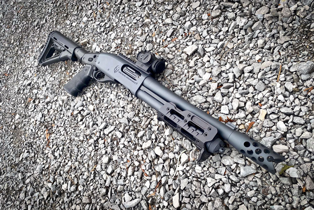 Rem 870 shotgun built by Tactical Ordnance Inc. equipped Cadex shotgun butt adaptor & MCS forend