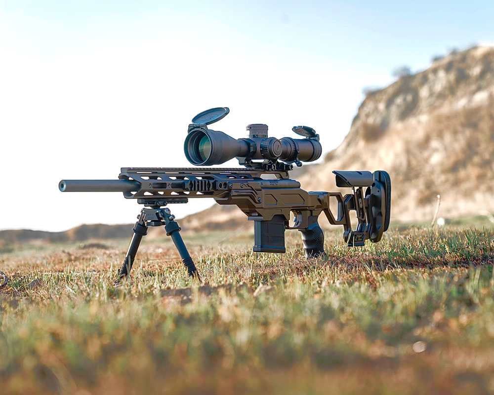 A Rem 700 chambered in 308 Win sitting in our Cadex Field Tactical chassis
